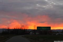Zachód słońca w Załężu, 17 listopada 2012 r.